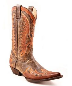 Take a look at this Brown Crackle Distressed Eagle Overlay Cowboy Boot - Women by Stetson on #zulily today!