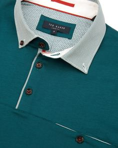 Spot collar polo - Teal | Tops & T-shirts | Ted Baker UK