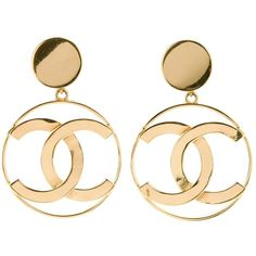 CHANEL VINTAGE logo earrings ($815) ❤ liked on Polyvore