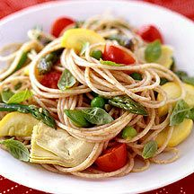 Pasta Primavera - Love this veggie-rich pasta.  The artichokes and fresh basil make it sing.  I often sub in different fresh veggies like zucchini or carrot ribbons for the peas.  I make it with the Barilla plus angel hair pasta and it is a completely satisfying meal.