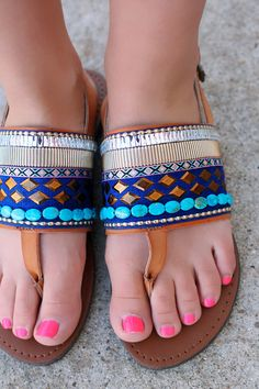 Blue Jeweled Sandals | UOIonline.com: Women's Clothing Boutique