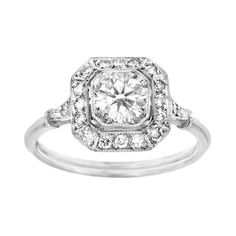 Vintage Epitome, Ladies' Preset Engagement Ring Solitaire 0.80tw  18K White Gold