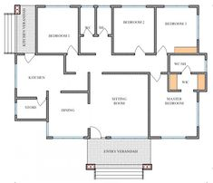 House Plan ID-17835, 4 bedrooms with 3061+1522 bricks and 118 corrugates 4 Bedroom House Plans, Dream House Plans, Modern House Plans, Small House Plans, Bungalow Floor Plans, Bungalow House Design, House Floor Plans, House Layout Plans, House Layouts