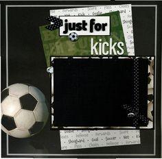 12x12 Premade Soccer Scrapbook Page  Just by SusansScrapbookShack, $14.95
