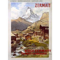 Swiss Alps Zermatt Matterhorn by Artist Anton Reckziegel Wood Sign