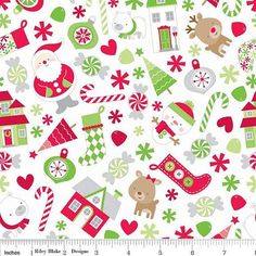 Riley Blake Christmas Flannel Santa on White by FabricWhimsyToo, $11.00
