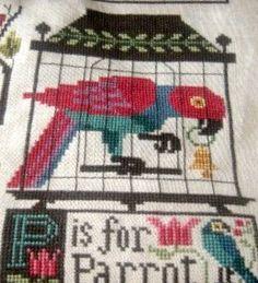 parrot Cross Stitch Alphabet, Cross Stitch Samplers, Cross Stitch Animals, Cross Stitching, Cross Stitch Patterns, Prairie School, Vintage Scrapbook, Crossstitch, Paintings