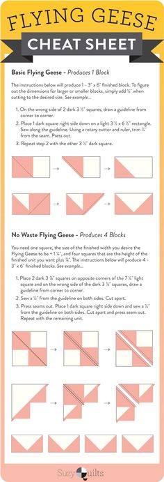 out this flying geese quilt block cheat sheet! single flying geese and 4 at a time flying geese infographicCheck out this flying geese quilt block cheat sheet! single flying geese and 4 at a time flying geese infographic Quilting Tools, Quilting Tutorials, Quilting Designs, Quilting Ideas, Triangle Quilt Tutorials, Triangle Quilts, Quilting Rulers, Embroidery Designs, Patchwork Vol D'oie