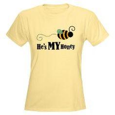 He's My Honey Matching Women's Light T-Shirt > He's My Honey Couples Tee shirts > Couple Shirts and Relationship Gifts