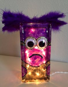 Purple Minion Glass Block by SemiColonDesigns on Etsy, $25.00
