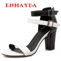 57.00$  Buy now - http://aliv8p.worldwells.pw/go.php?t=32664401265 - ENMAYDA Fashion Concise Office Lady Shoes Square Heel Buckle Strappy Sandals Women Mixed Colors High Heels Sandals Brown White 57.00$