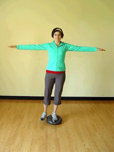 Single Leg Standing Balance with Abduction Exercise- works your abs and your outer thigs.