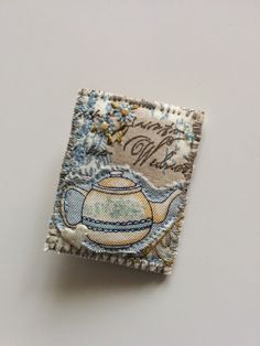 Vintage Postcard Style Embroidered Brooch | Fabric Mountain