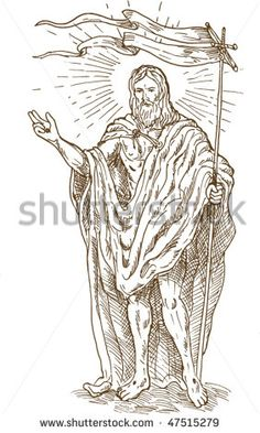 vector hand sketch drawing illustration of the The Risen or Resurrected Jesus Christ standing with flag - stock vector Cartoon Hair, The Risen, Drawing Sketches, Drawings, Hand Sketch, Vector Hand, Halloween Art, Royalty Free Images, Retro Fashion