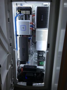 My home network closet - HomeNetworking Network Cabinet, Network Rack, Structured Wiring, Smart Home Design, Server Rack, Custom Pc, Smart Home Automation, Smart Home Technology, Home Office Setup