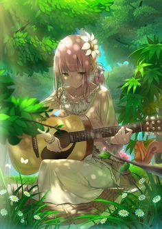 Anime girl with guitar in forest #myanimelife http://myanimelife.com