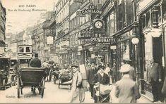 Plongeons dans la foule de la rue du Faubourg-Montmartre de 1900 avec son foisonnement d'enseignes et de publicités...  (Paris 9ème)