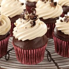 Chocolate Ganache Peanut Butter Cupcakes Recipe -I've been baking cakes for years and enjoy trying new combinations of flavors and textures. For this recipe, I blended peanut butter and chocolate. As soon as I took the first bite, I knew I had created something divine!—Ronda Schabes, Vicksburg, Michigan Butter Cupcake Recipe, Cupcake Recipes, Cupcake Cakes, Frosting Recipes, Cup Cakes, Just Desserts, Delicious Desserts, Yummy Food, Food Cakes