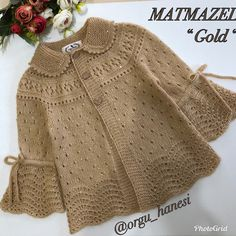 No automatic alt text available. Baby Knitting Patterns, Knitting Designs, Crochet Patterns, Crochet Blouse, Knit Crochet, Baby Girl Sweaters, Baby Coat, Baby Cardigan, Little Girl Dresses