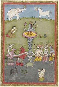 Anonymous | Karnen van de oceaan, Anonymous, 1790 - 1810 | Op een lotusbloem die op een waterschildpad in de rivier rust staat de tweede verschijning van Vishnu; goden en monsters houden een cobra vast die om de steel van de lotusbloem is geknoopt, in de rivier twee biddende figuren, op de achtergrond een knielende vrouw en tegen de lucht op de heuveltop een olifant en een veelkoppig paard. Rondom de voorstelling een smalle oranje en een smalle gouden rand.