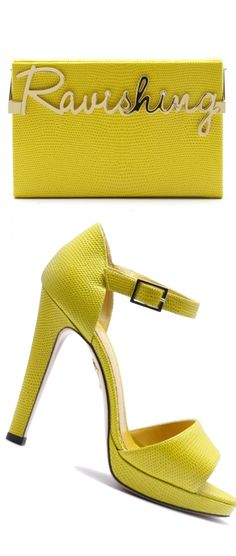 "Charlotte Olympia Sunny Yellow Platform and ""Ravishing"" Yellow Evening Clutch Bag"