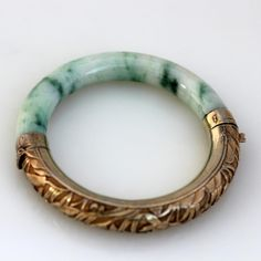 Vintage Chinese Icy Jade Bangle with Repousse Vermeil Silver Jade Jewelry, Coin Jewelry, Modern Jewelry, Jewelery, Jewelry Accessories, Jewelry Design, Mens Silver Necklace, Silver Bracelets, Jewelry Bracelets
