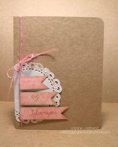 i love you kraft paper card // One Scrappy Novice