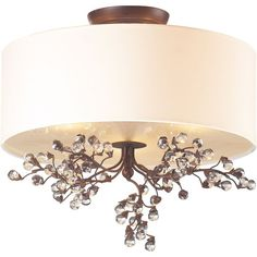 Elk Lighting Winterberry Semi Flush Mount with Glass Shade, 16 by Antique Darkwood Finish in Close-to-Ceiling Lights. Semi Flush Lighting, Elk Lighting, Bedroom Lighting, Ceiling Light Fixtures, Ceiling Lights, Flush Mount Ceiling, Glass Ball, Drum Shade, Glass Shades