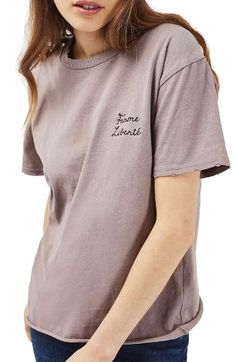 Free shipping and returns on Topshop Femme Liberté Tee at Nordstrom.com. Pretty embroidered script honors your free spirit in this relaxed cotton jersey tee with roughed-up edges.