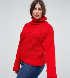 Boohoo Plus Roll-Neck Wide-Sleeve Sweater