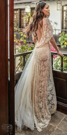 galia lahav couture fall 2018 bridal half sleeves deep v neck full embellishment high slit elegant champagne soft a line wedding dress low open back sweep train (11) bv