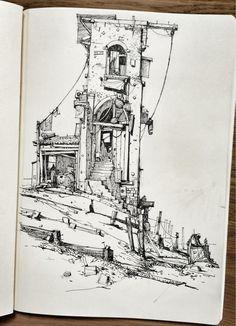 Ian McQue on Twitter: Sketchbook: 'Wharf' http://t.co/kbtNy5nd1F