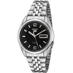 Seiko Men's SNK393K Automatic Stainless Steel Watch Seiko. $100.00. Precise 21 Jewel Japanese Automatic movement. Water-resistant to 99 feet (30 M). Black dial with silver tone hands, hour markers and arabic numerals at 12:00 and 6:00; Luminous; Exhibition case back. Hardlex crystal; Brushed and polished stainless steel case and bracelet. Day function in english and spanish; Date function. Save 66%!