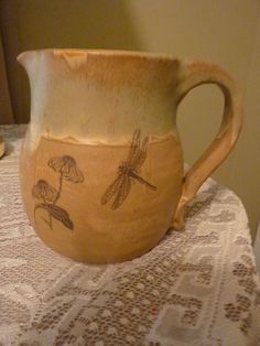 Great gift idea for early Christmas Shoppers!  Handmade Pottery Stoneware Pitcher by PotteryLaceNautical on Etsy