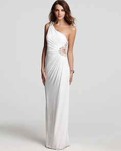 LM by Mignon One Shoulder Gown - Side Cut Out | Bloomingdale's