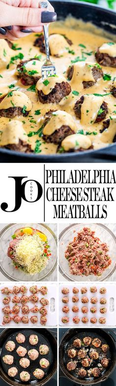 These Philly Cheese Steak Meatballs are just as delicious as the popular Philly Cheese Steak Sandwich, but in a bite size meatball with an incredible cheese sauce. - Best All Recipes Philly Cheese Steaks, Meat Recipes, Appetizer Recipes, Cooking Recipes, Appetizers, Burger Recipes, Cooking Fish, Shrimp Recipes, Chicken Recipes