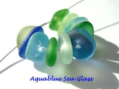 10  Center Drilled Sea Glass From  England by aquablueseaglass, $18.00