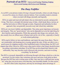 ISTJ - no matter how many times I take the Myers Briggs, I get the ISTJ.   When I took it in 1996 I got INTJ, but every time since then it's been ISTJ.