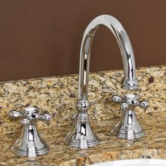 Melanie Widespread Gooseneck Spout Bathroom Faucet with Metal Cross Handles