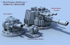 The High Marshal himself has his own personal Battle Barge, the Eternal Crusader, a huge vessel that is the spiritual home of the entire Chapter and contains its most sacred relics, chapels, and re… Black Templars, Warhammer 40k Rpg, Battle Fleet, Battlefleet Gothic, Arte Robot, Anime Weapons, Sci Fi Ships, Bfg, Weapon Concept Art