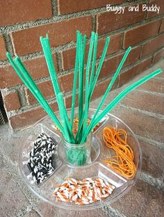 Perfect Halloween activity for practicing fine motor skills! (Fall Invitation to Create: Pipe Cleaners, Straws, Beads, and String)~ Buggy and Buddy
