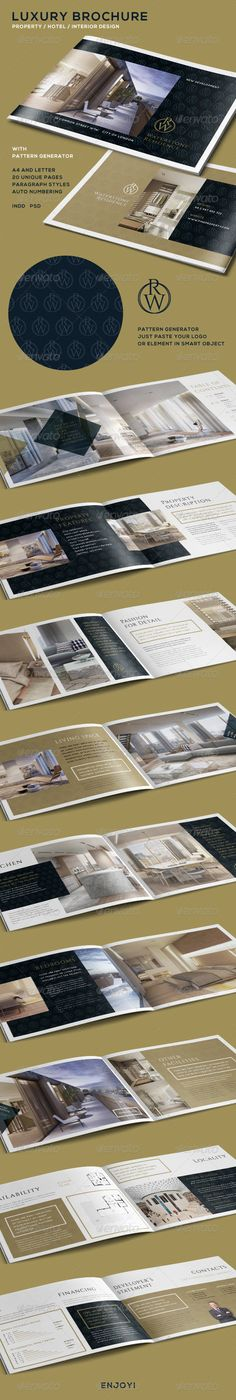 Buy Luxury Brochure for Property - Hotel - Interior by marnica on GraphicRiver. Luxury Brochure for Property – Hotel – Interior Design With Pattern Generator – PSD files INDD and IMDL (for fil. Luxury Brochure, Design Brochure, Brochure Layout, Branding Design, Luxury Branding, Brochure Ideas, Real Estate Branding, Real Estate Flyers, Design Poster