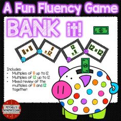 This fun interactive game will have your students cheering for more while they are learning their times tables.   Concepts covered: Bank it game with just multiples of 11 up to 12, multiples of 12 up to 12 and a mixed review of multiples of 11 and 12.  Your kids will be begging to play again.