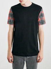 Black Check Sleeve T-Shirt