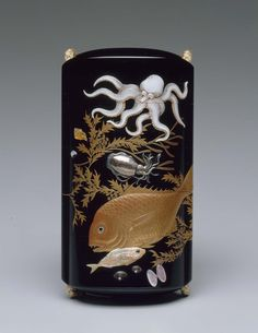 Four-case inro with sealife design Japanese, Edo Period, Early 19th century By Koma Kansai II, Japanese, 1767–1835 By Shibyama Soichi, Japanese (Front)
