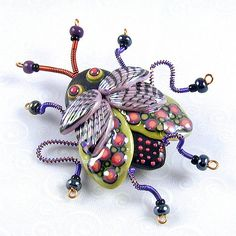 https://flic.kr/p/4G8fGE | Creepy Crawly Bug Pin | One of my older designs from my art/craft show days re-visited.  It's been long enough; I am having fun again when I make these.