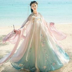 Hanfu Women Embroidery Dress Tops Chest Skirt Long Coat Cosplay Fairy - Ideas of Embroidery Dress Chinese Clothing Traditional, Korean Traditional Dress, Traditional Dresses, Hanfu, Desi Wedding Dresses, Estilo Lolita, Lolita Cosplay, Korean Dress, Fantasy Dress