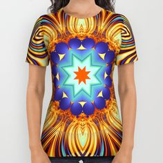 Kaleidoscope abstract with a flower shape and tribal patterns in the colors warm yellow, orange, blue, green and purple. (kaleidoscope...