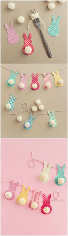 This colorful Easter garland is so easy to make with scrapbook paper and yarn! Both kids and adults will love making this together. via /diy_candy/ #giftwrapping