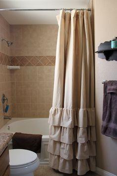 Tan Four Ruffle Shower Curtain by SelahJamesHandmade on Etsy, $100.00